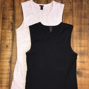 Two J. Crew Perfect Fit Shell Tanks Grey&Black